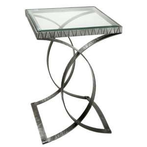 Juno Clear Glass Top Side Table With Metal Frame