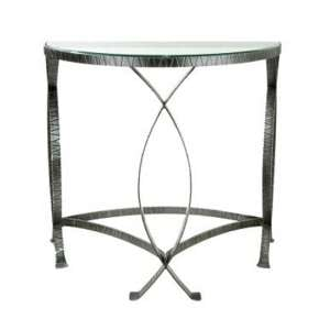 Jupiter Clear Glass Console Table With Antique Black Metal Frame