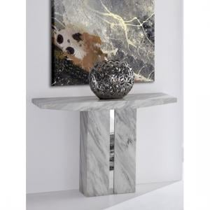 Jupiter Marble Console Table Rectangular In White Carrera