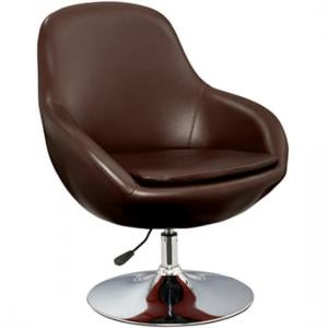 Justin Tub Chair In Brown Faux Leather With Chrome Base