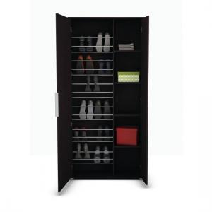 Justin Mirrored Shoe Storage Cupboard In Ebony With 2 Doors_4