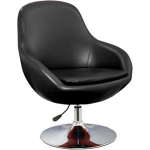 Justin Tub Chair In Black Faux Leather With Chrome Base