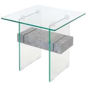 Jessie Glass End Table In Clear With Concrete Style Shelf