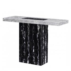 Kabino Marble Console Table Rectangular In White And Black