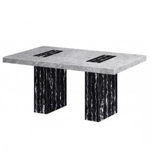 Kabino Marble Dining Table Rectangular In White And Black