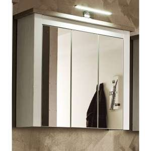 Kaira Wall Mirrored Cabinet In White Pine Nelson Oak With Lights