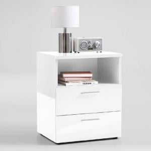 Kiara Bedside Cabinet In White High Gloss With 2 Drawers