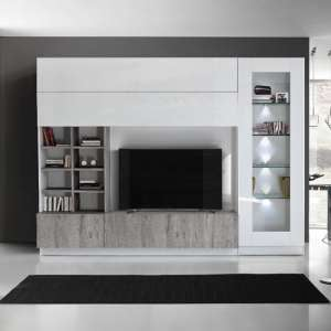 Kalani White High Gloss Large Entertainment Unit In Grey Oak