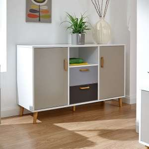Kallie Wooden Sideboard In White With Two Doors And Drawers
