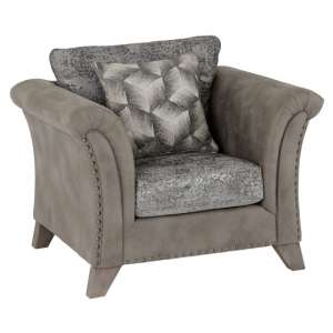 Kangus Fabric Upholstered 1 Seater Sofa In Silver And Grey
