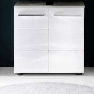 Karla Vanity Cabinet In Stone Grey And White High Gloss