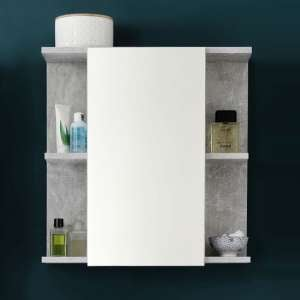 Karla Mirrored Wall Cabinet In Stone Grey And White High Gloss