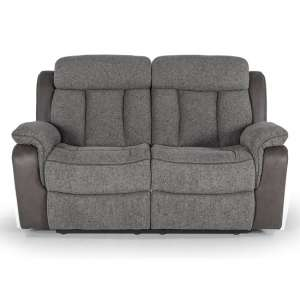 Karr Two Seater Recliner Fabric Sofa In Grey