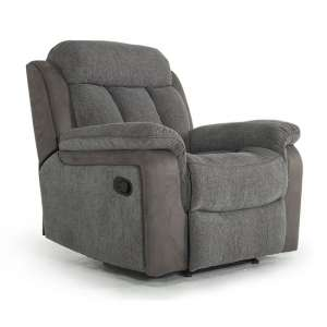 Karr Two Tone Recliner Fabric Armchair In Grey