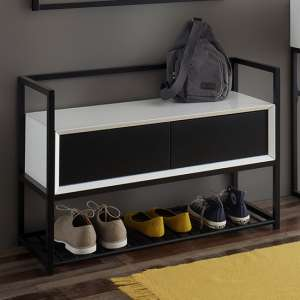 Kasan Wooden Shoe Bench In Black And White