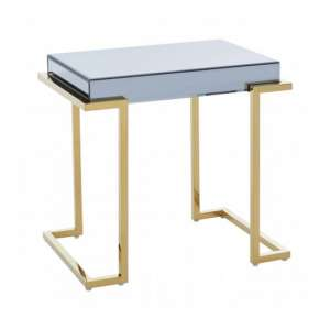 Kasota Mirrored Glass End Table In Grey With Gold Legs