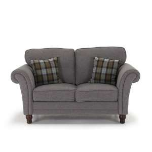 Kathryn Fabric 2 Seater Sofa In Grey With Wooden Legs