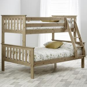 Katie Wooden Triple Sleeper Bunk Bed In Lacquered Pine