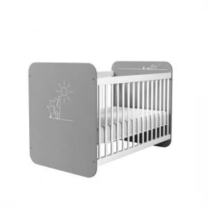 Kelby Wooden Cot Bed In Pearl White And Grey With Bars