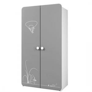 Kelby Wooden Wardrobe In Pearl White And Grey With 2 Doors_2