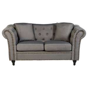 Kelly Chesterfield 2 Seater Sofa In Grey With Wooden Feet