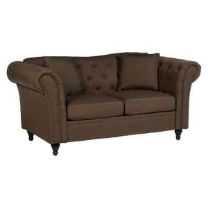 Kelly Chesterfield 2 Seater Sofa In Natural With Wooden Feet