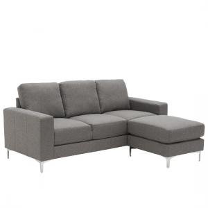 Kelsey Contemporary Corner Sofa In Grey Fabric With Metal Legs
