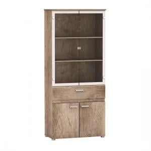 Kelso Glass Display Cabinet In Monument Oak  With 4 Doors