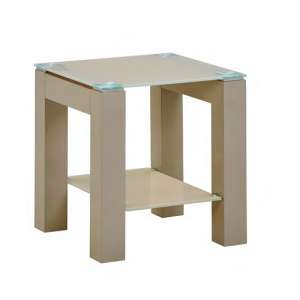 Kelson Glass End Table Square In Latte With Wooden Legs