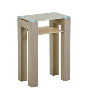 Kelson Glass Console Table Small In Latte With Wooden Legs