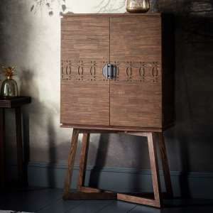 Kelton Retreat Wooden Bar Cabinet In Mango Wood With 2 Doors