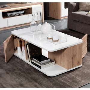 Kemble Coffee Table In Oak And White Lacquered Gloss