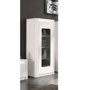 Kemble Glass Display Cabinet In White High Gloss With LED