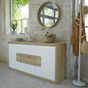 Kemble Small Sideboard In Oak And White Lacquered With LED