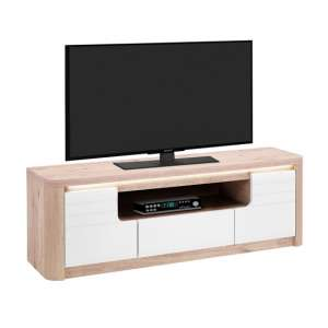 Kemble Wooden TV Stand In Oak And White Lacquered With LED