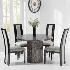 Kempton Marble Dining Table Round In Grey And 4 Allie Chairs
