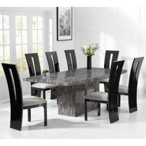 Kempton Marble Dining Table In Grey With 6 Ophelia Grey Chairs