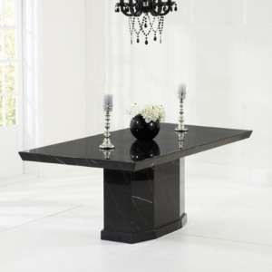 Hamlet Small High Gloss Marble Dining Table In Black
