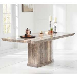 Kempton Marble Dining Table Rectangular In Brown