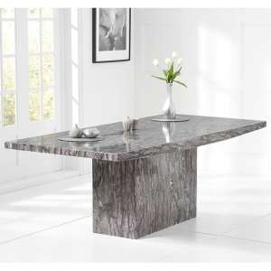 Kempton Marble Dining Table Rectangular In Grey