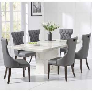 Hamlet Marble Dining Table In White With 4 Tybrook Chairs