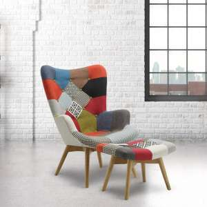 Kendal Arm Chair With Stool In Patched And Wooden Legs
