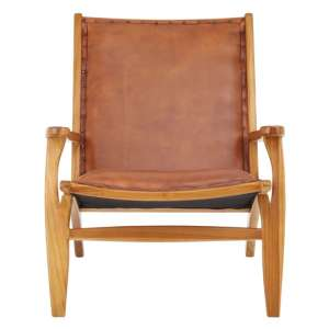 Formosa Teak Wood Chair With Brown Leather