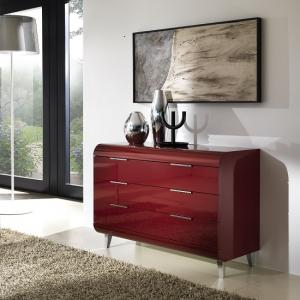 Kenia Modern Chest Of Drawers Wide In Red High Gloss