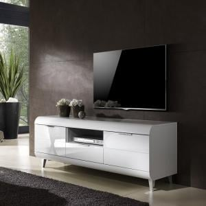 Kenia TV Stand In White High Gloss With Wooden Legs And 2 Doors