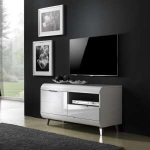 Kenia Small TV Stand In White High Gloss With Wooden Legs