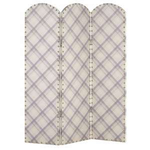 Kenmore Canvas Room Divider Screen In Tartan Plaid Design