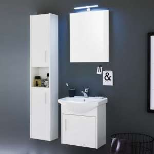Kensa Wall Mounted Bathroom Set In White Gloss Fronts And LED