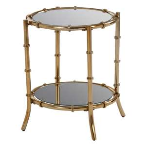 Furud Townhouse Bamboo Design Glass Side Table In Gold