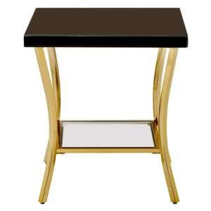 Furud Townhouse Black Mirrored Glass Side Table In Gold
